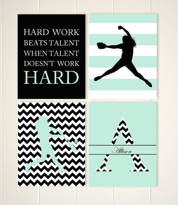 Softball wall art, girls room softball decor, softball pitcher, softball batter, teen girl wall art, set of 4, choose your colors and sports by PicabooArtStudio