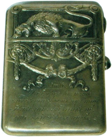 Портсигар в стиле модерн, украшенный изображением льва Начало XX века