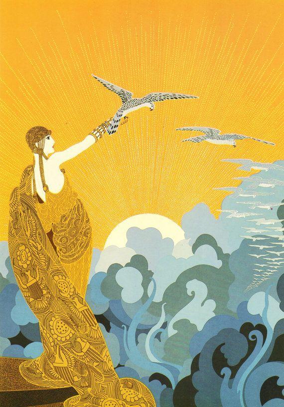 """Chique originele Vintage ERTE Art Deco Print """"WINGS van de overwinning"""" mode…"""