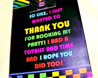 80s Theme Thank You Card, 80s Party Thank You Note, 80s theme party, Retro  Thank You Card, 1980s Party Notes, 80s party invitations
