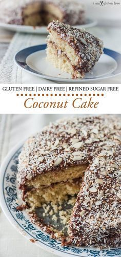 Gluten free, dairy free, and refined sugar free light and fluffy coconut cake.