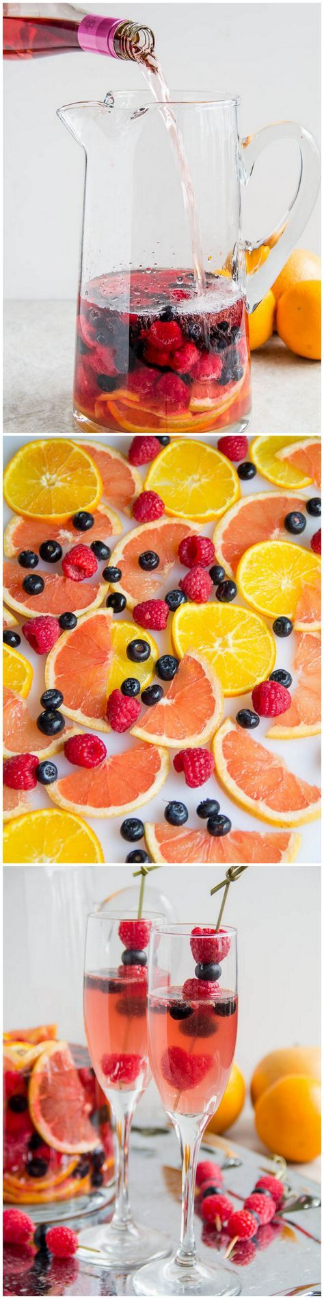 Fruity Moscato Sangria • 1 cup sugar • 1 cup water • 1 cup raspberries • ½ cup blueberries • 1 orange, thinly sliced • 1 grapefruit, thinly sliced • ¼ cup triple sec • 1 bottle (750ml) #BulletinPlace Moscato