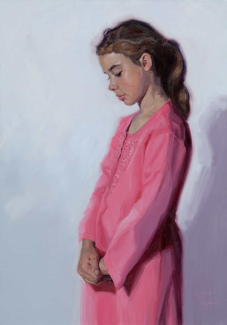 Portrait of my youngest daughter. painted by Carolien van Olphen. Oil on Linen, 70 x 100 cm.