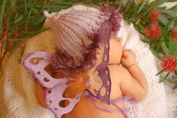 Baby Photography Prop Set: Fairy Wings and Gumnut Baby Hat for infant portraiture