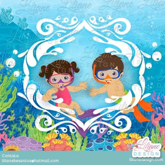 Mergulhador Baby Fundo Do Mar Desenhos Coloridos Desenho