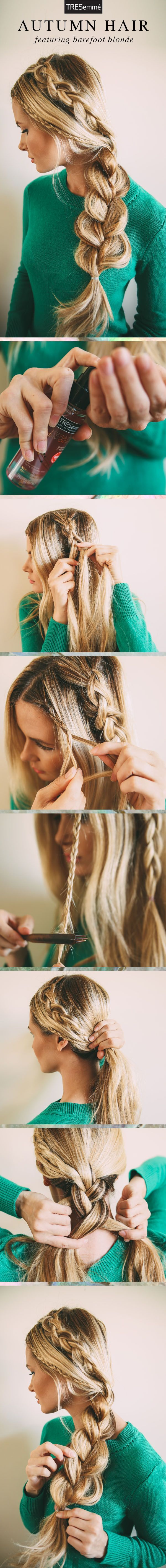 Connoisseur of braids, @Barefoot Blonde by Amber Fillerup shows us a triple-braid autumn look (because two braids just aren't enough).