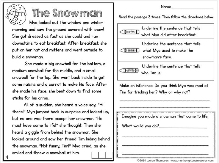 FREEBIE! Text evidence reading comprehension passage. #snowman #readingcomprehension #freebie