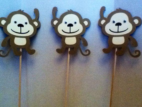 Cute Monkey Centerpiece Set of Three 8 Inches by Onecraftyhippo
