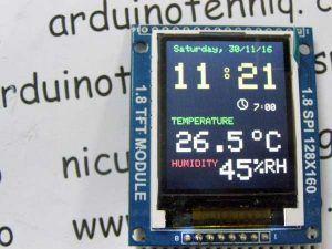 Adjusting clock with alarm hygrometer & thermometer on 1.8 ST7735 display