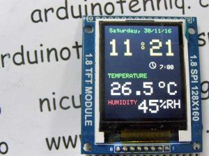 Adjusting clock with alarm hygrometer & thermometer on 1.8 ST7735 display