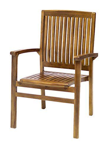 All Things Cedar Stacking Dining Chair with Red Cushions. Solid Teak Great for Outdoors and Patios. Elegant and Stackable. Teak Oiled Finish. 24w x 23d x 37h. Seat: 20w x 19d.
