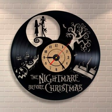 The Nightmare Before Christmas Clock cut from a vinyl record by Vinyl Revolution