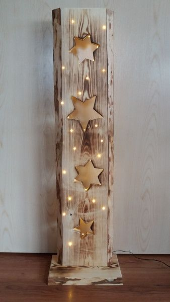 Deko-Objekte – Holzbrett mit Sterne + LED Beleuchtung – ein Designerstück von F…