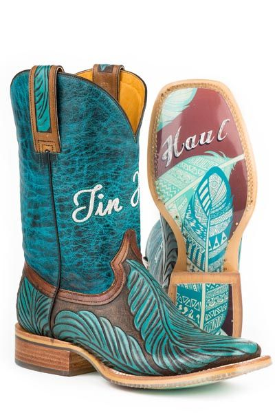 "The Tin Haul Boots  FEATHERS STYLE# 14-021-0007-1211 BR Pin Feather Sole * Handmade Boot * Double Welt * Walking Heel * Cushioned Insole * Square Toe * All Leather Heel * Leather Lining * 11"" Shaft *   Call to order 618-245-6577"