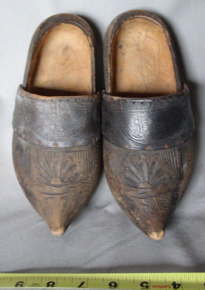 4461511bd3 Antique Dutch Folk Art Carved Wooden Shoes Clogs Embossed Leather Holland   HandCarved