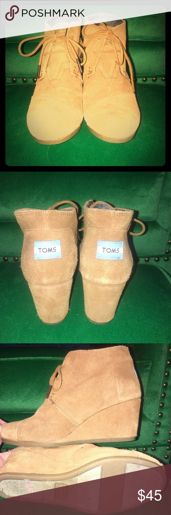 Tom's Desert Wedge Booties in Cognac 7.5 Tom's brand wedge booties in cognac/ tan color.  Excellent condition, only worn twice. TOMS Shoes Ankle Boots & Booties
