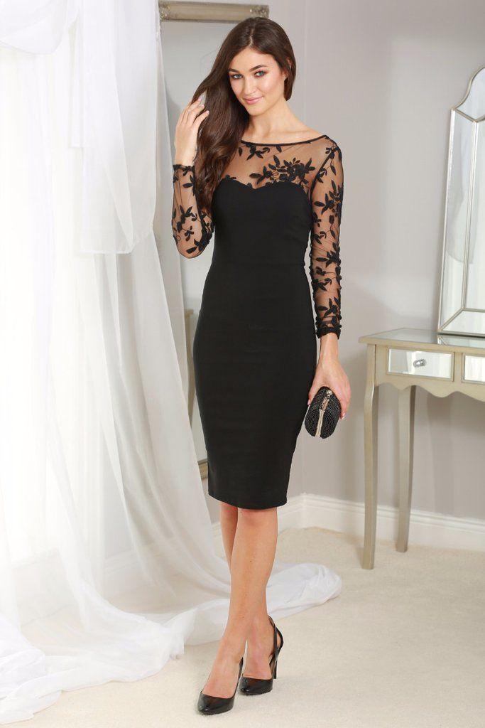 Carrie Black Mesh Sleeve Midi Dress