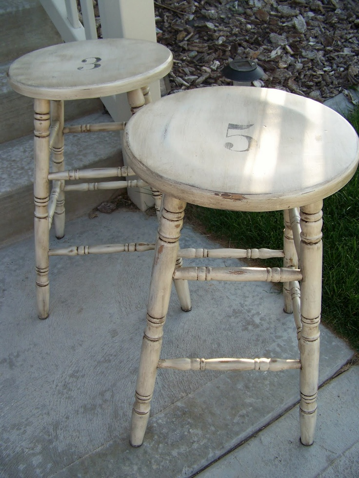 DIY:  Bar stools get a facelift - step by step tutorial on painting & aging.