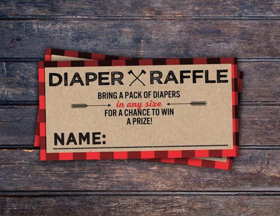 Diaper Raffle, Lumberjack Baby Shower // Buffalo Plaid Woodland Baby Shower Invitation // Lumberjack Invite // Rustic // Bear