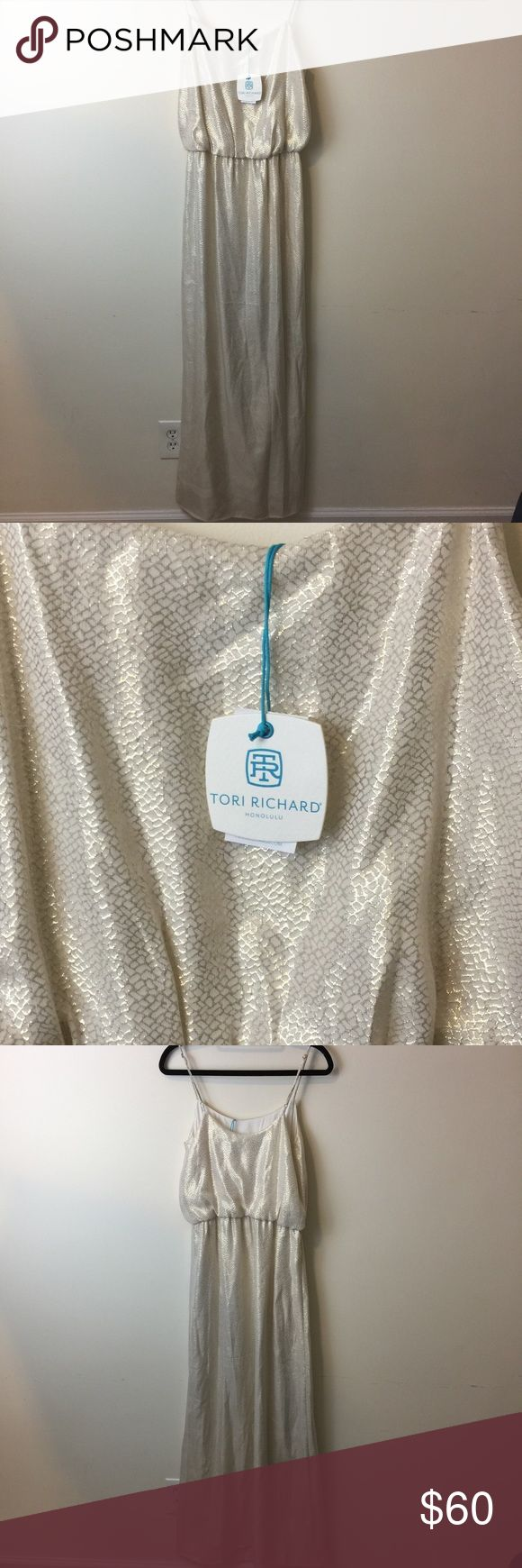 NWT Tori Richard White Metallic Maxi Dress Gorgeous NWT Tori Richard dress that is white Metallic and Sleeveless. Lined and Maxi length! Size 2 and looks great as a vacation piece or as a dressier dress for date night! Tori Richard Dresses Maxi