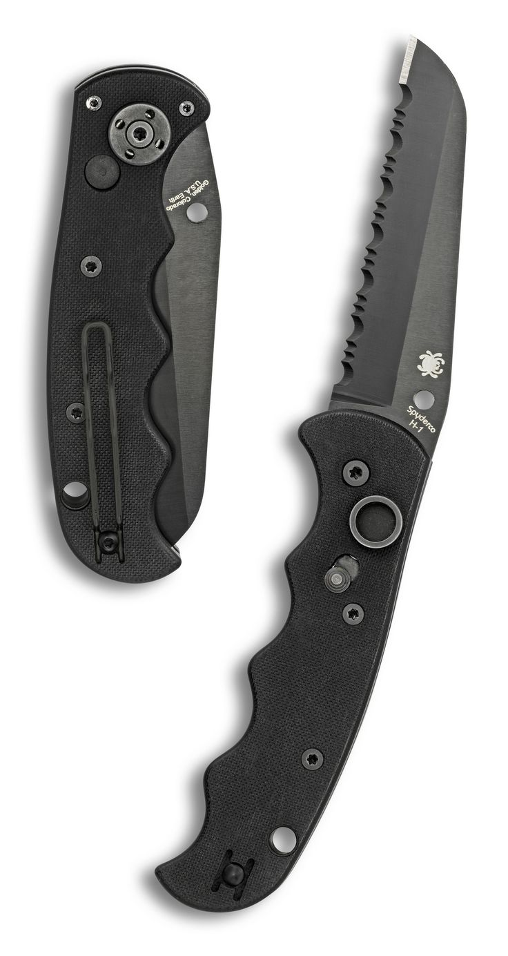 SPYDERCO Autonomy AUTO Folding Knife 3.65 inch H-1 Black Serrated Blade, G10