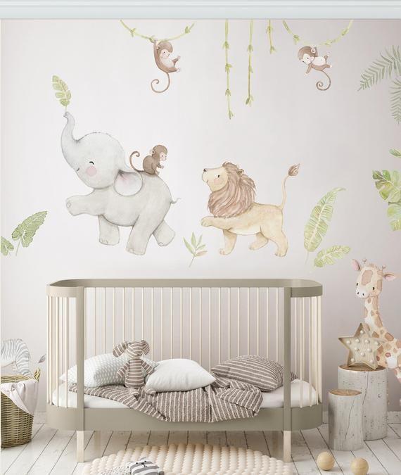Reusable Fabric Wall Decal Safari Animals Nursery Wall Decal