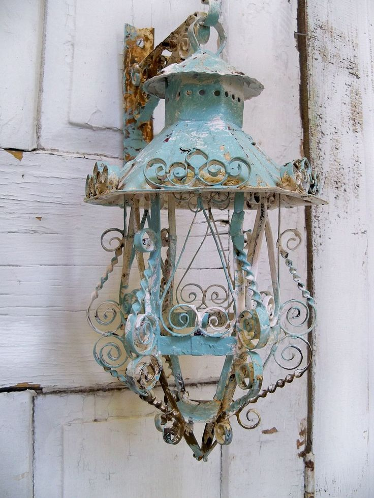 shabby chic scroll work metal lantern candle holder with hanger ooak anita spero. Black Bedroom Furniture Sets. Home Design Ideas