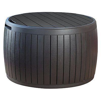 Round-Outdoor-Storage-Deck-Box-Patio-Side-Coffee-Table-Barrel-Chair-Organizer