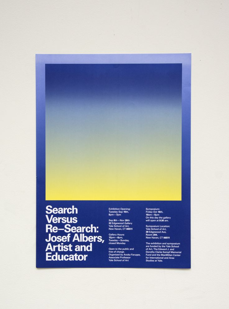 Megan Billman (New Haven) + Biba Kosmerl (New York), Poster for Search Versus Re—Search: Josef Albers, Artist and Educator, 2015