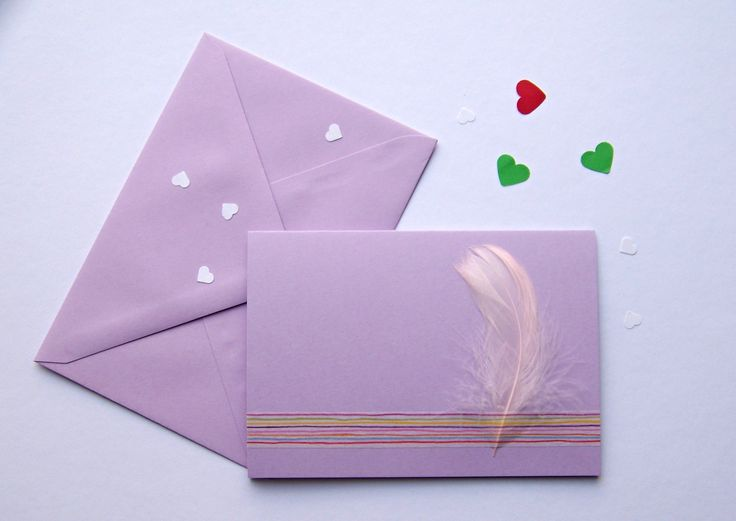 Card with feather * #card #handmade #ladylu #feather #pranisobalkou #tvoreni #pirko #protebe #littleart #lilac #fialova #ruzova