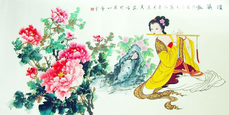 PEONY AND BEAUTY-CHINESE PAINTING