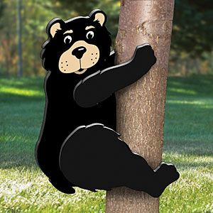 "Climbing Bear Pattern.  3D Black Bear family! You'll bearly tell that these bears aren't real. Make them all for your yard and your neighbors will surely do a double take. Projects don't come much easier than these. Simple to paint and to make from 1/2"" or 3/4"" plywood. Climbing Bear Parts Req'd: Tree mounting kit #W-422   Item# 2082  $10.95  ( crafting, crafts, woodcraft, pattern, woodworking, yard art, animal )"
