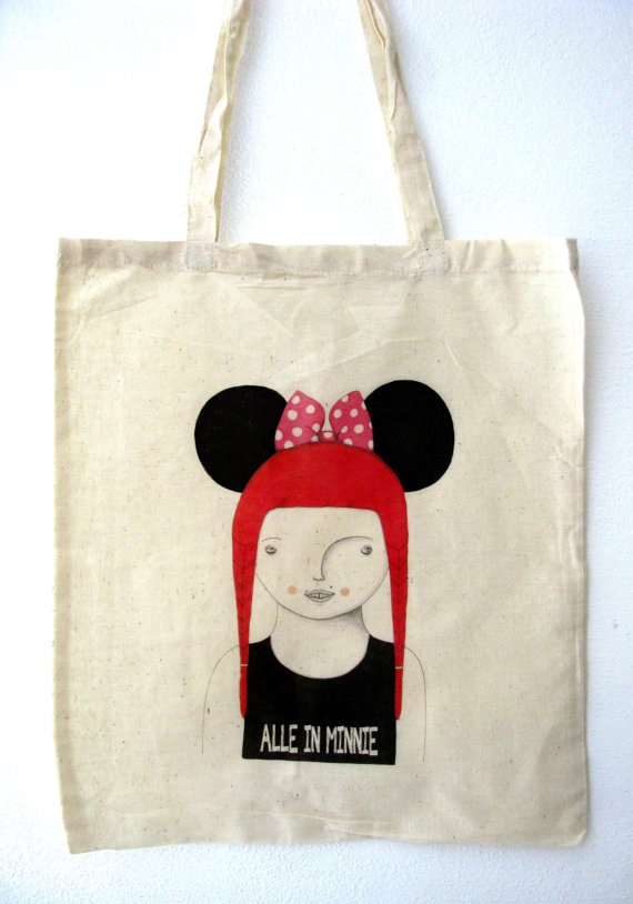 Alle in Minnie  handprinted canvas Tote bag by allestudio on Etsy, $23.00