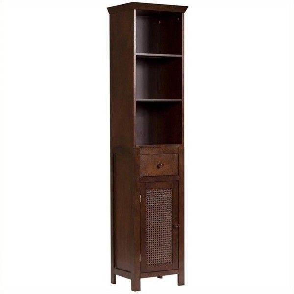"""Elegant Home Fashions Cane 65"""""""" 1-Door Linen Tower ($115) ❤ liked on Polyvore featuring home, furniture, storage & shelves, cabinets, brown, drawer tower, tower, linen tower, door shelf and one door storage cabinet"""