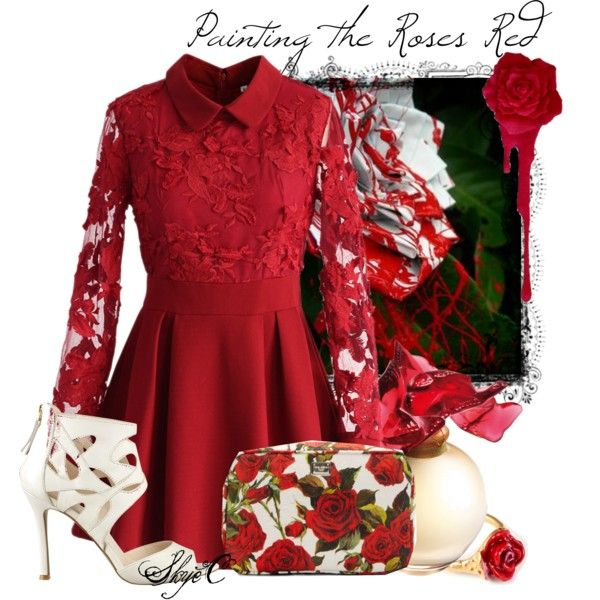 Painting the Roses Red - Disney's Alice in Wonderland by rubytyra on Polyvore featuring Chicwish, Nine West, Dolce&Gabbana, LeiVanKash, Lalique, disney, aliceinwonderland and disneybound