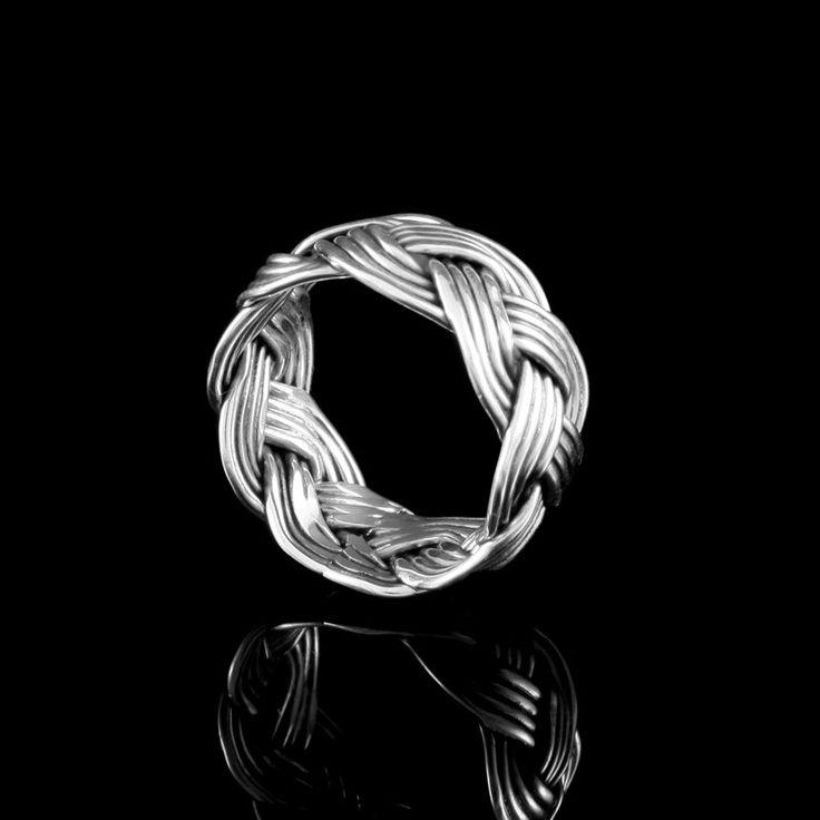 Anel Trançado Envelhecido - Anéis - Prata Fina - Joias em Prata