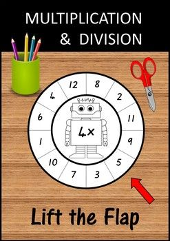 Multiplication and Division wheels for the x1 to x12 facts.  A great craftivity to help your students learn and practise the instant recall of their multiplication and division facts.  How to make:   colour / decorate  cut out the two wheels and along the dotted lines between the numbers  glue the top and bottom wheels together (in the centre only)  fold back the flaps  write the answers under the flaps  ready to use!