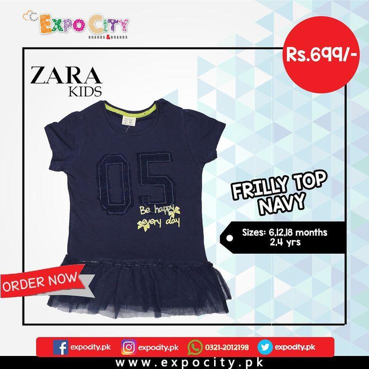 Product: Frilly Top Navy  Brand: Zara Kids  Price: Rs. 699  #Children #Girls #Frock #TShirt #Karachi #Lahore #Islamabad #OnlineShopping #ExpoCity #Zara #Kids #RawCulture #CashOnDelivery #BabyGirl #CuteDresses #Dress #Frocks #Top #Pakistan #PakistanShopping #Pants #Tights #ZaraKids