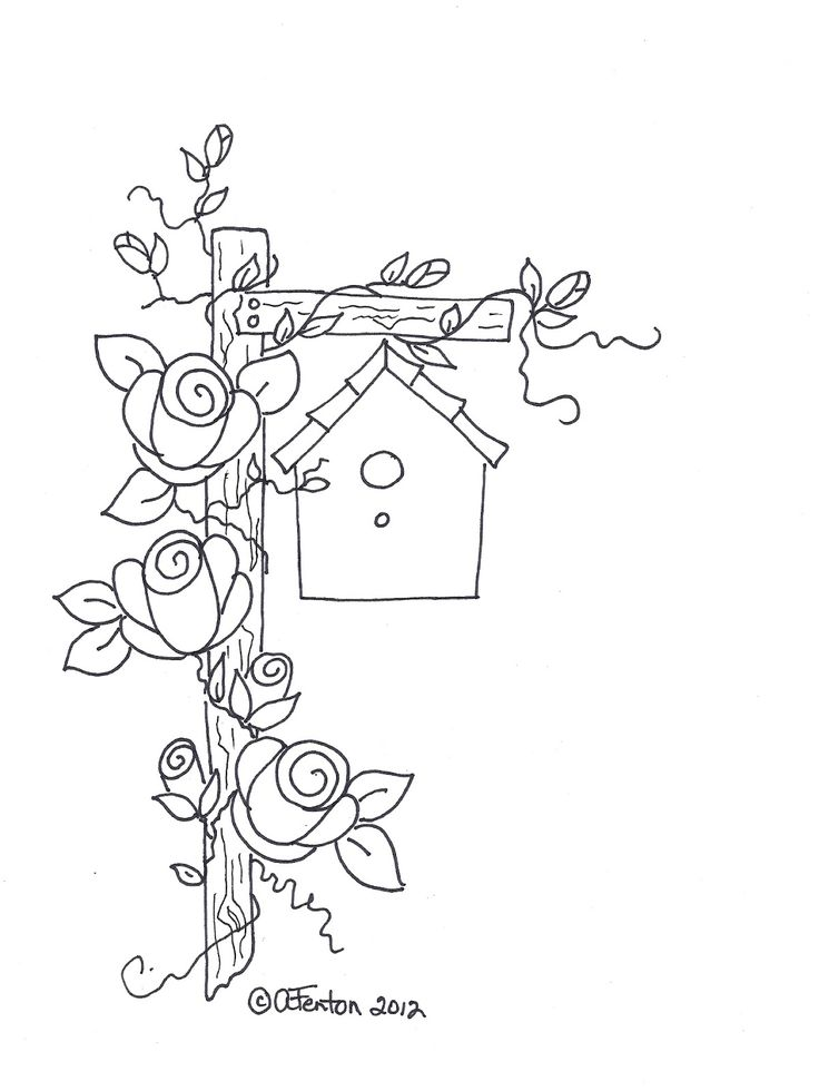 Birdhouse and roses stitchery