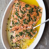 Foolproof Salmon  Heat oven 250, pour olive oil on pan, add salmon, skin side down, season with salt, pepper, lemon zest, bake 25 minutes