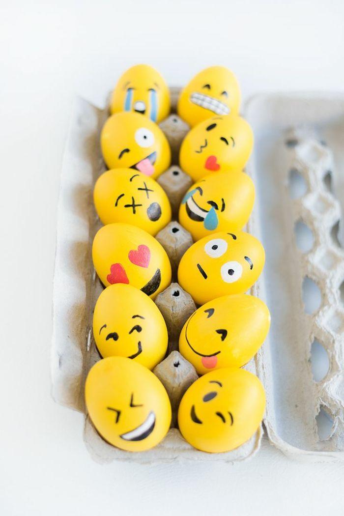 ostereier bemalen basteln mit kindern gelbe eier smiles