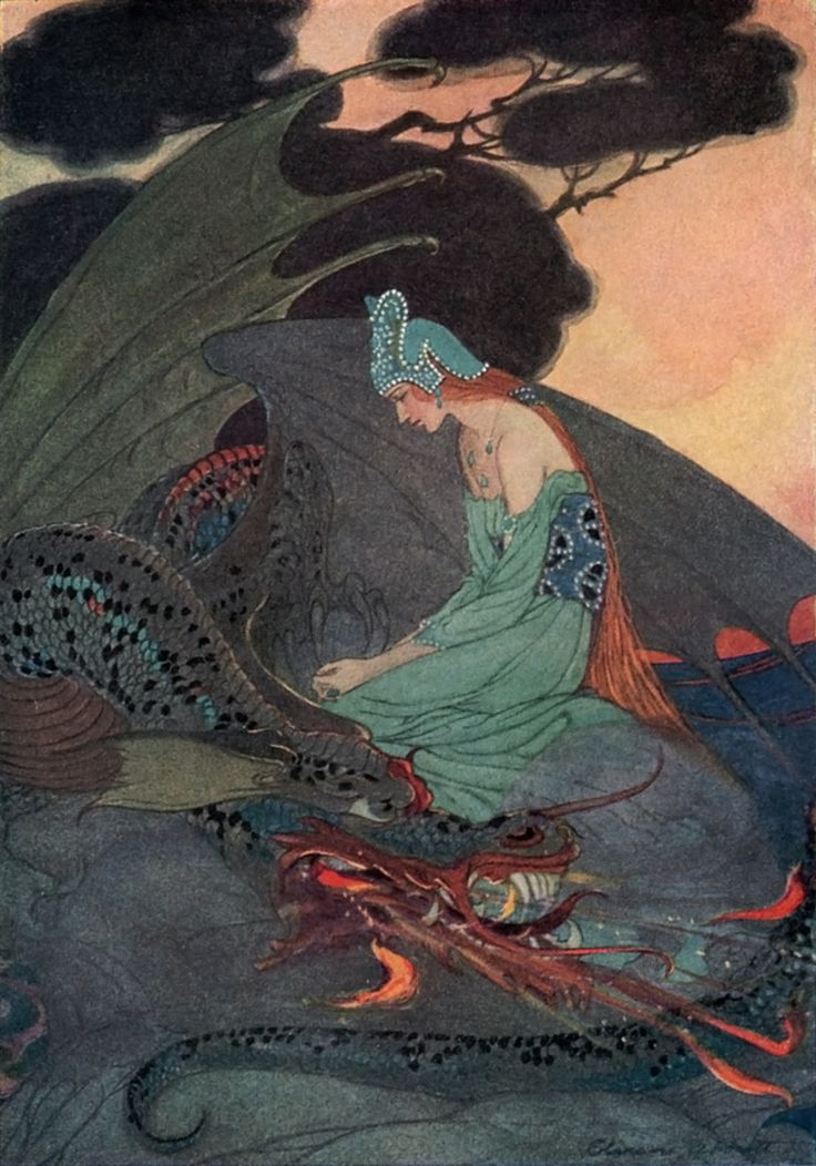 Elenore Abbott : An illustration of the princess and dragon from The Two Brothers, a story published in Grimms' Fairy Tales.