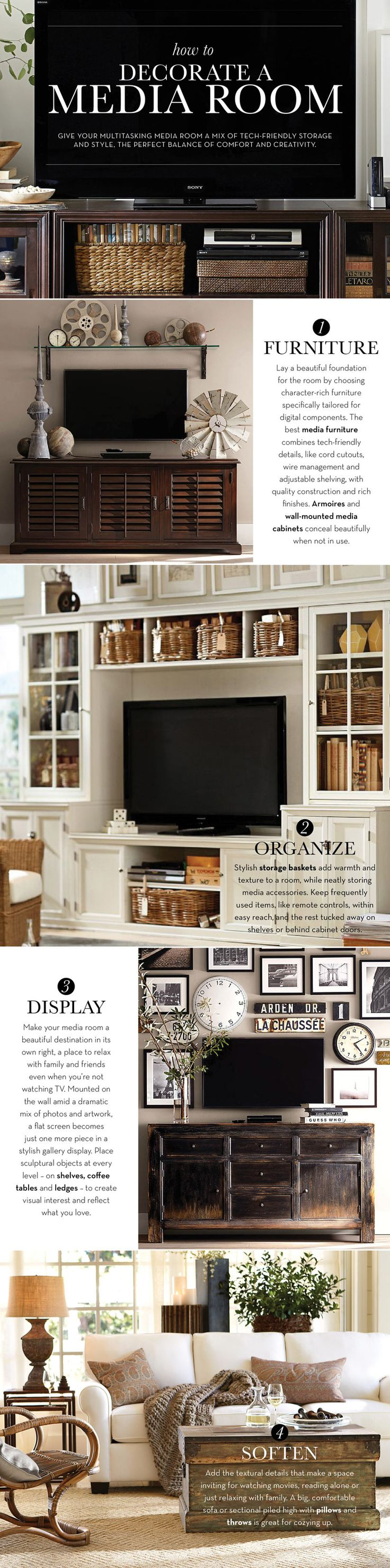 Make a room multifunctional and not just for tv. How to decorate a media room from Pottery Barn!