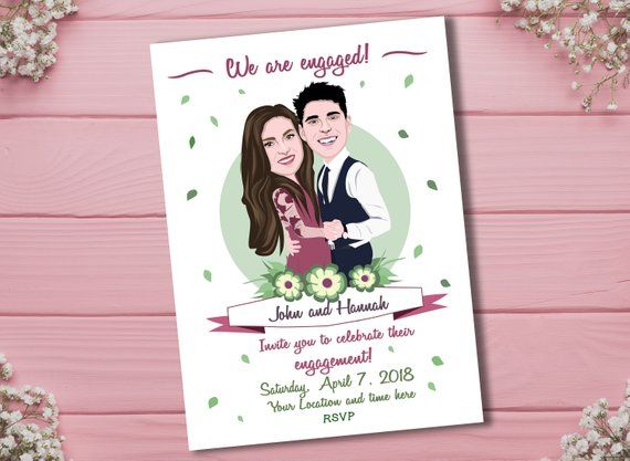 Custom Engagement Invitation From Your Photos Caricature Invitation For Engagement Party Illustrated Invitation Digital File Only Engagement Invitations Illustrated Invitations Portrait Invitation