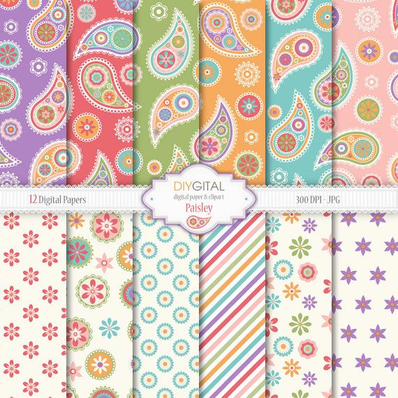 Paisley digital paper set- 12 paisley backgrounds in colorful orange, pink, purple, turquoise, red and green-For scrapbooking,graphics,cards