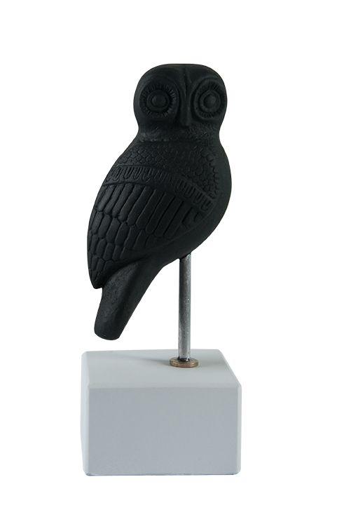 "Owl Heron: ""Wisdom begins in wonder"" - Socrates. Material: Ceramine. Color: Black."