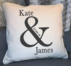 Beautiful bespoke Wedding Gift. Cushion with '&' design, detailed with the Wedding date and names of Bride and Groom! WowWee.ie - €39.99