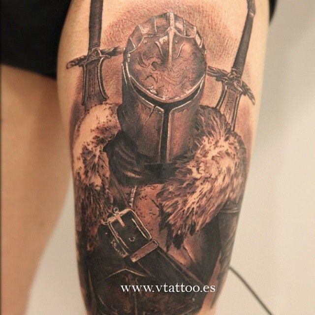 Realistic tattoo of Faraam Knight from Dark Souls II by Miguel Bohigues.