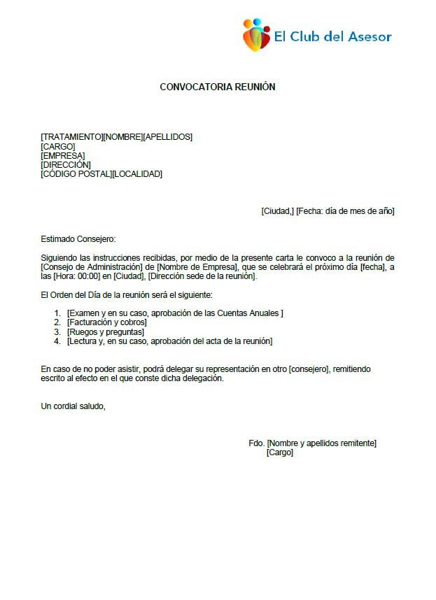 Carta convocatoria de reunión