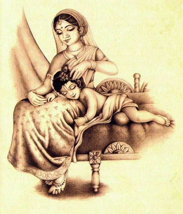 Maa Yashoda & Bal Gopal Sleeping ( Beauty ) Krishna II Jai Shree Krishna II